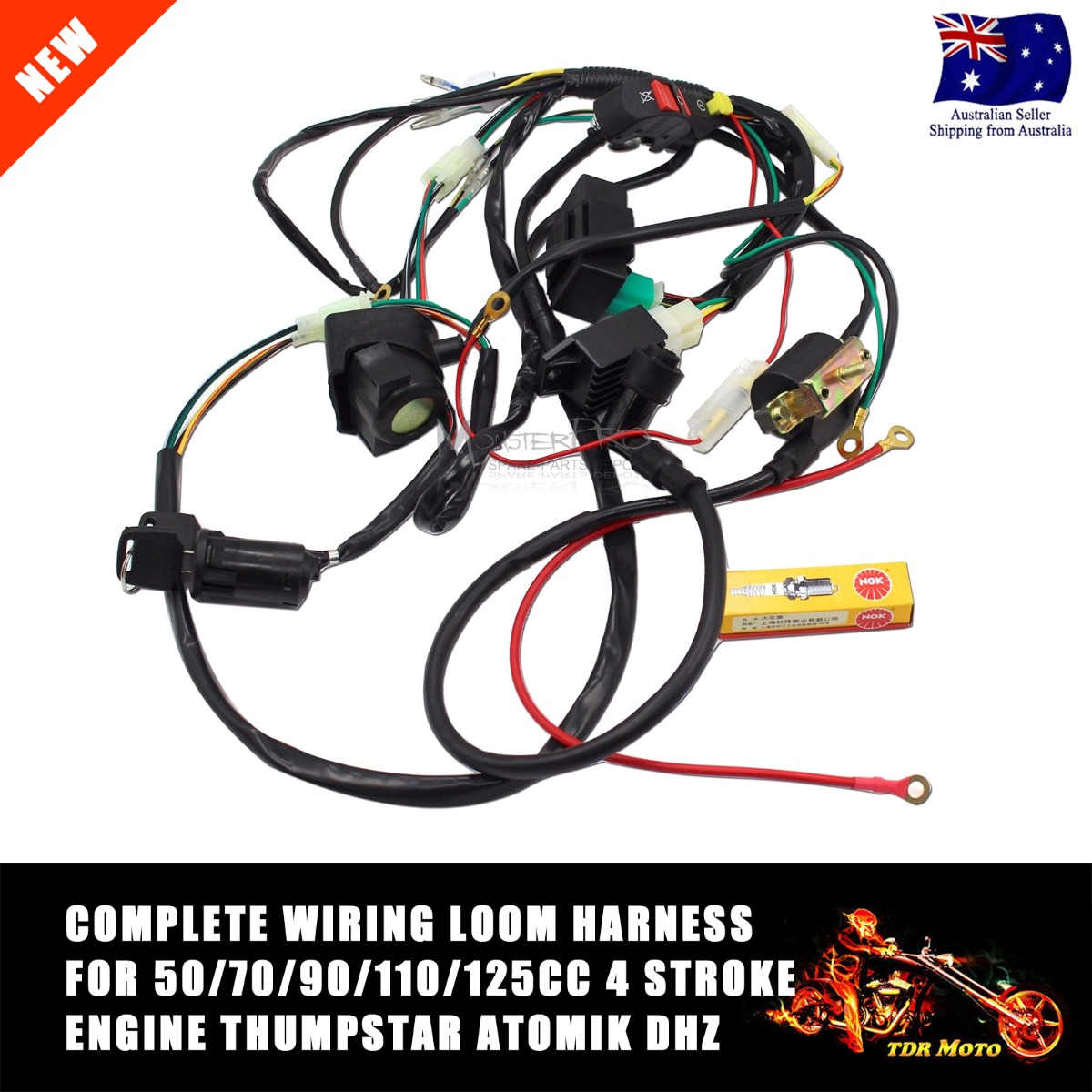 pit bike wiring diagram electric start diagramming subjects and predicates worksheets full harness loom 50 70 90 110 125cc dirt