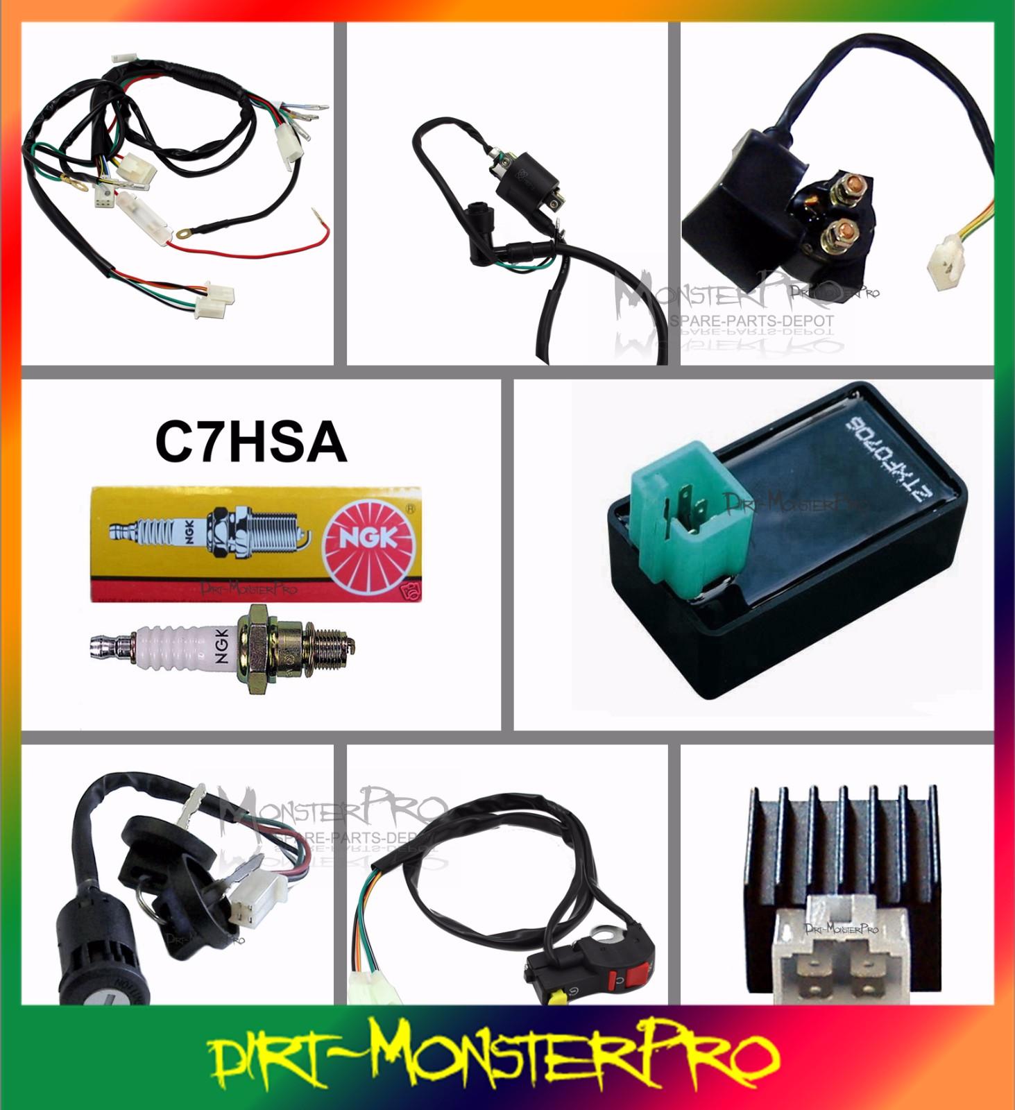 pit bike wiring diagram electric start lc gmrc 01 full kick loom harness coil cdi