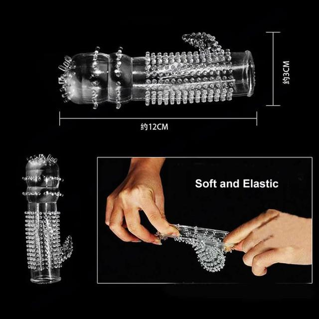 1 Pc X New Hot Reusable Full Cover Penis Sleeve Ring Delay Impotence Erection Condoms