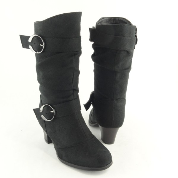 Girl' Mid Calf Slouchy High Heel Boots Faux Suede Black