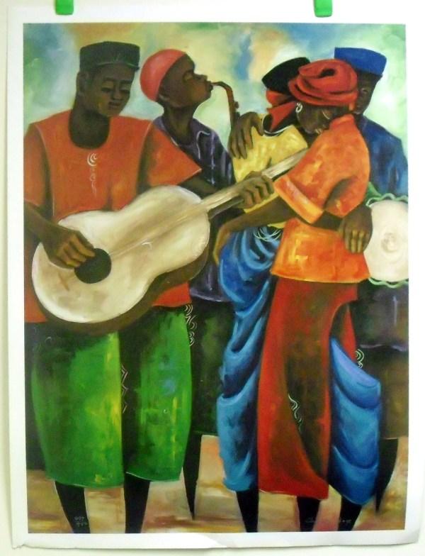 "African Folk Art Litho Print Hand Signed # Artist Chidi Okoye 25x33"""