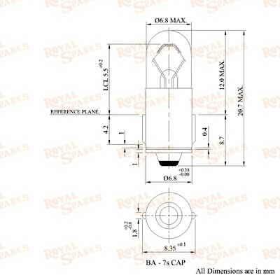 10 Miniature Bulbs 12V 1 2W BA 7s Shell DIA 6 8 MM Pack