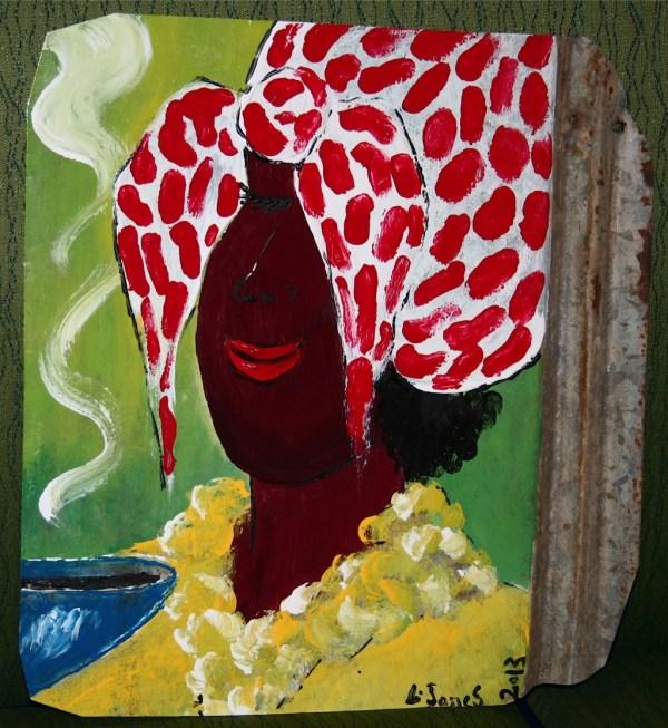 Leonard Jones Folk Art Painting Black Taught Ga X
