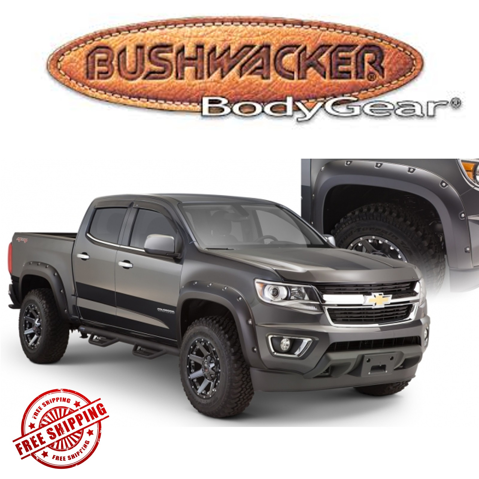 small resolution of details about bushwacker matte black pocket style fender flares fits 2015 2019 chevy colorado