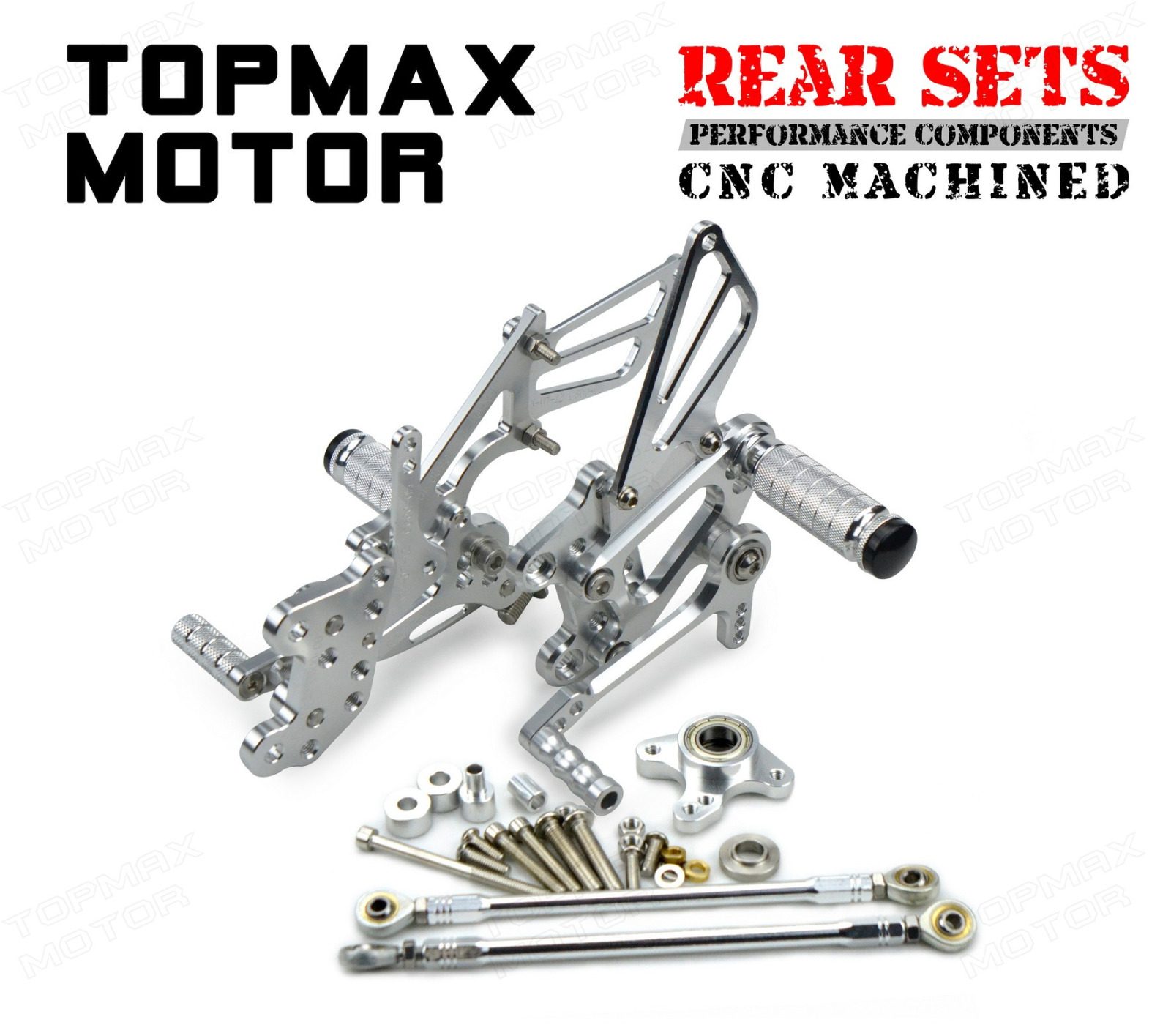 Silver CNC Rearset Foot Control Rear Sets For 2003-2005