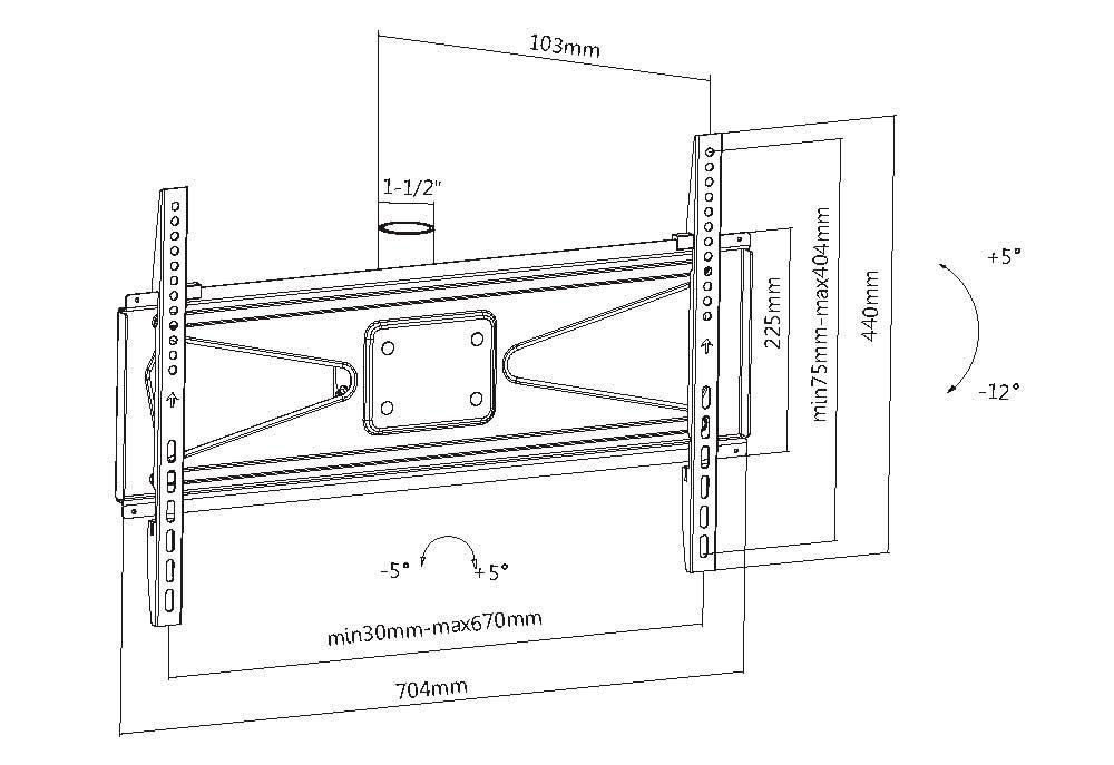 Tilt TV Plate for TV Ceiling Mount 39-65