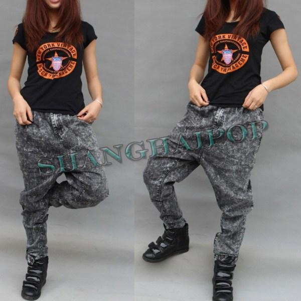Vintage Baggy Harem Pants Women Drop Crotch Trousers Jeans