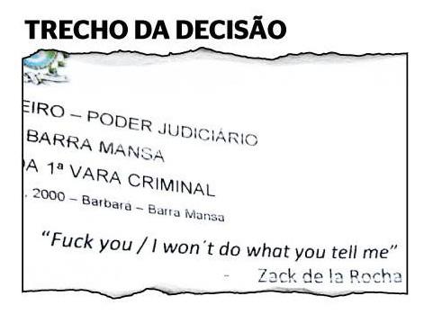 Juiz cita verso de msica com palavro para absolver ru por desacato Fuck you