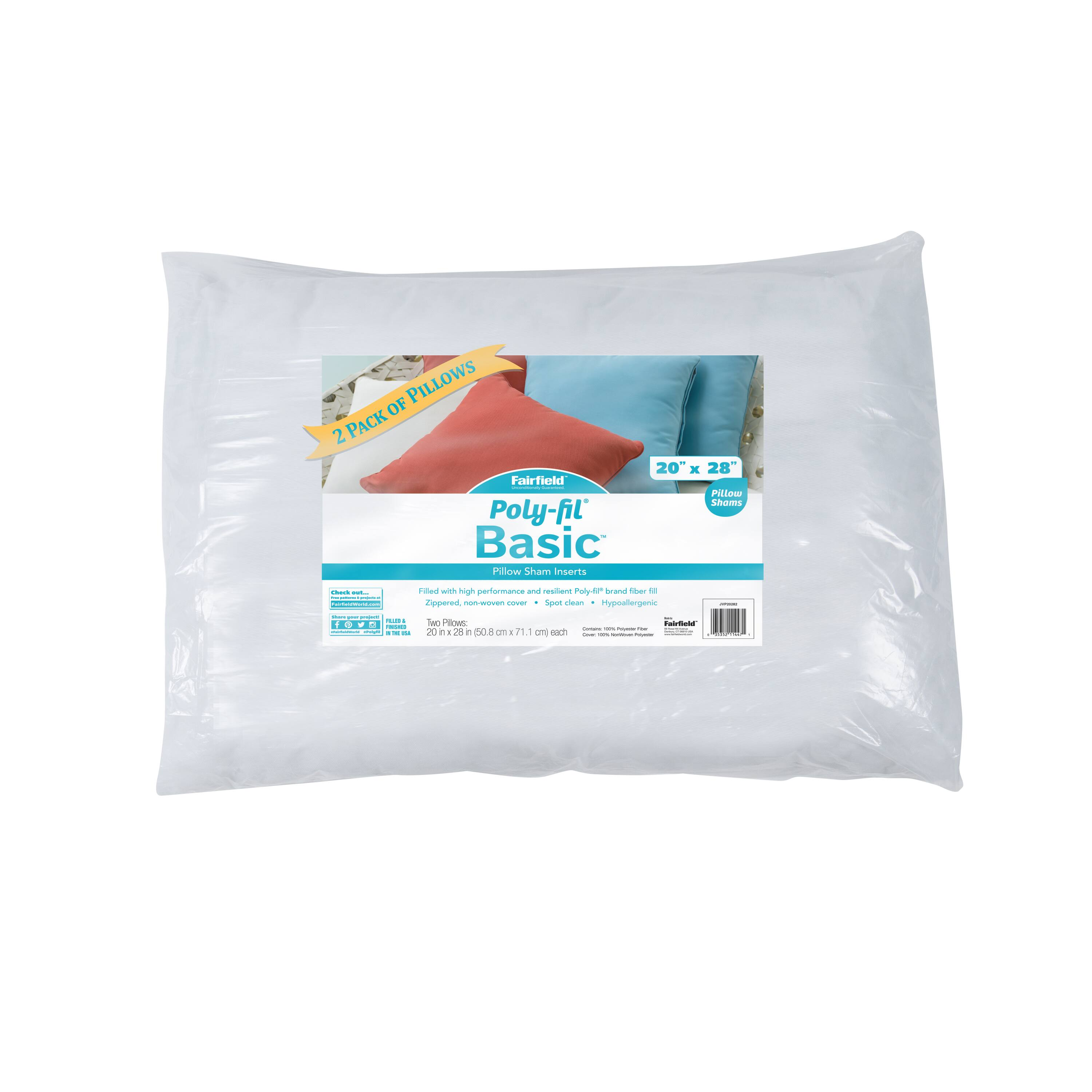 poly fil basic 2ct polyester pillow insert 20 x 28