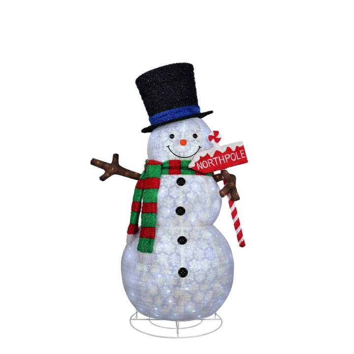 7Ft Pre-Lit Snowman With North Pole Sign By Puleo International | Michaels�