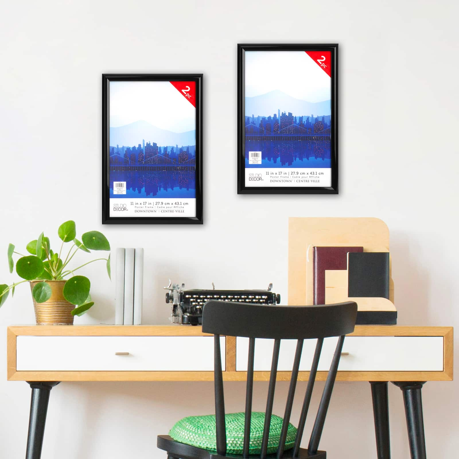 2 pack black 11 x 17 poster frame downtown by studio decor