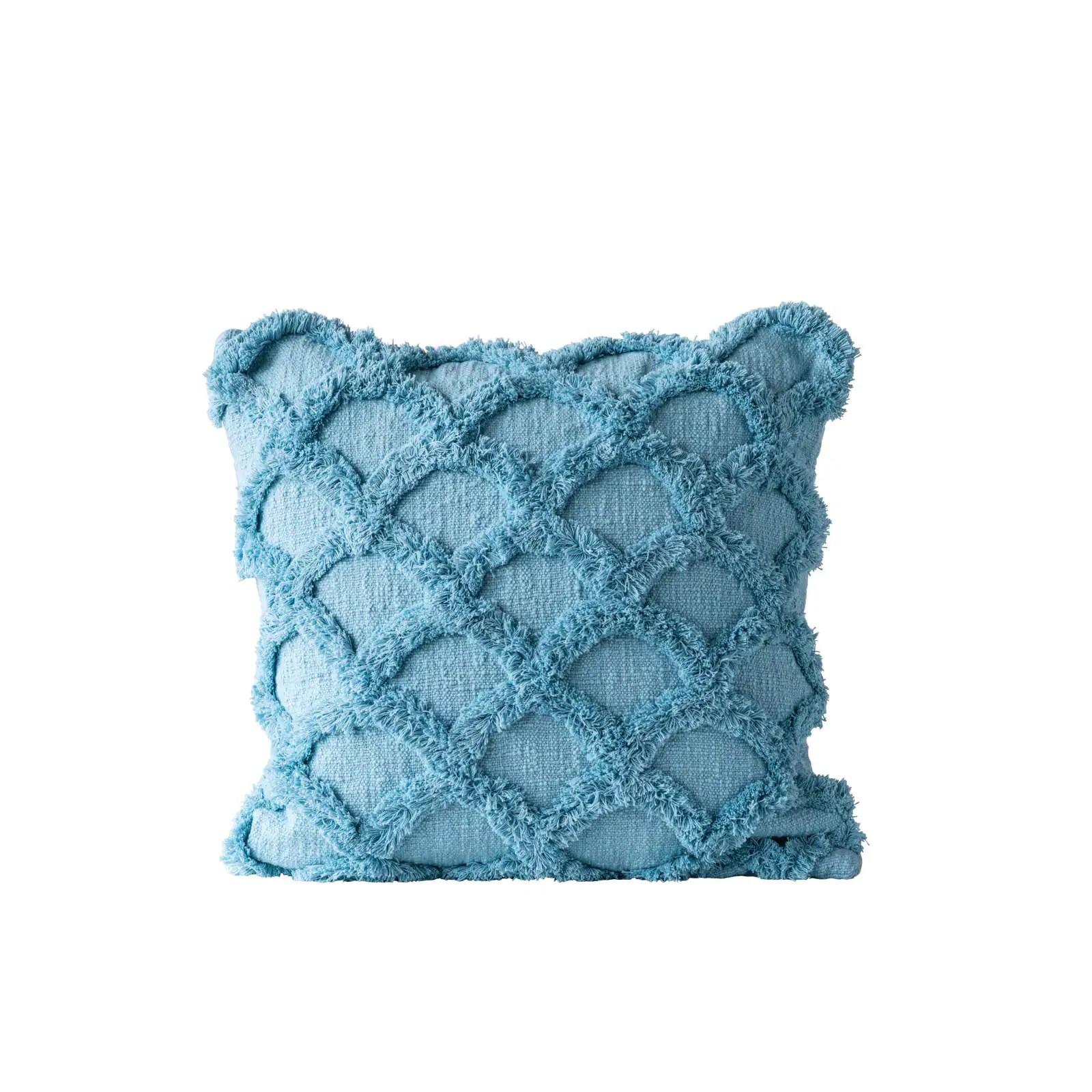 light blue cotton chenille throw pillow