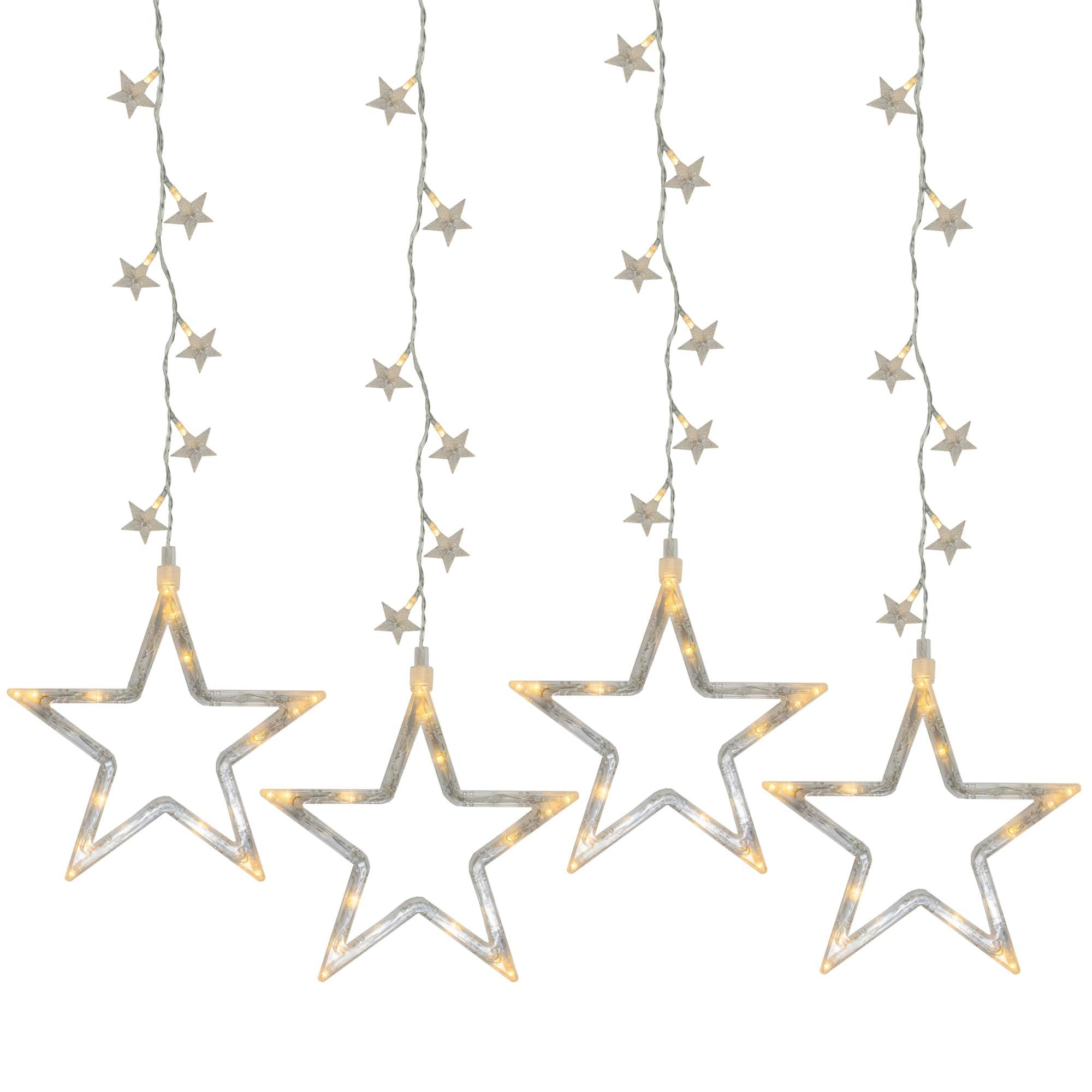 100ct clear led star silhouette window curtain lights
