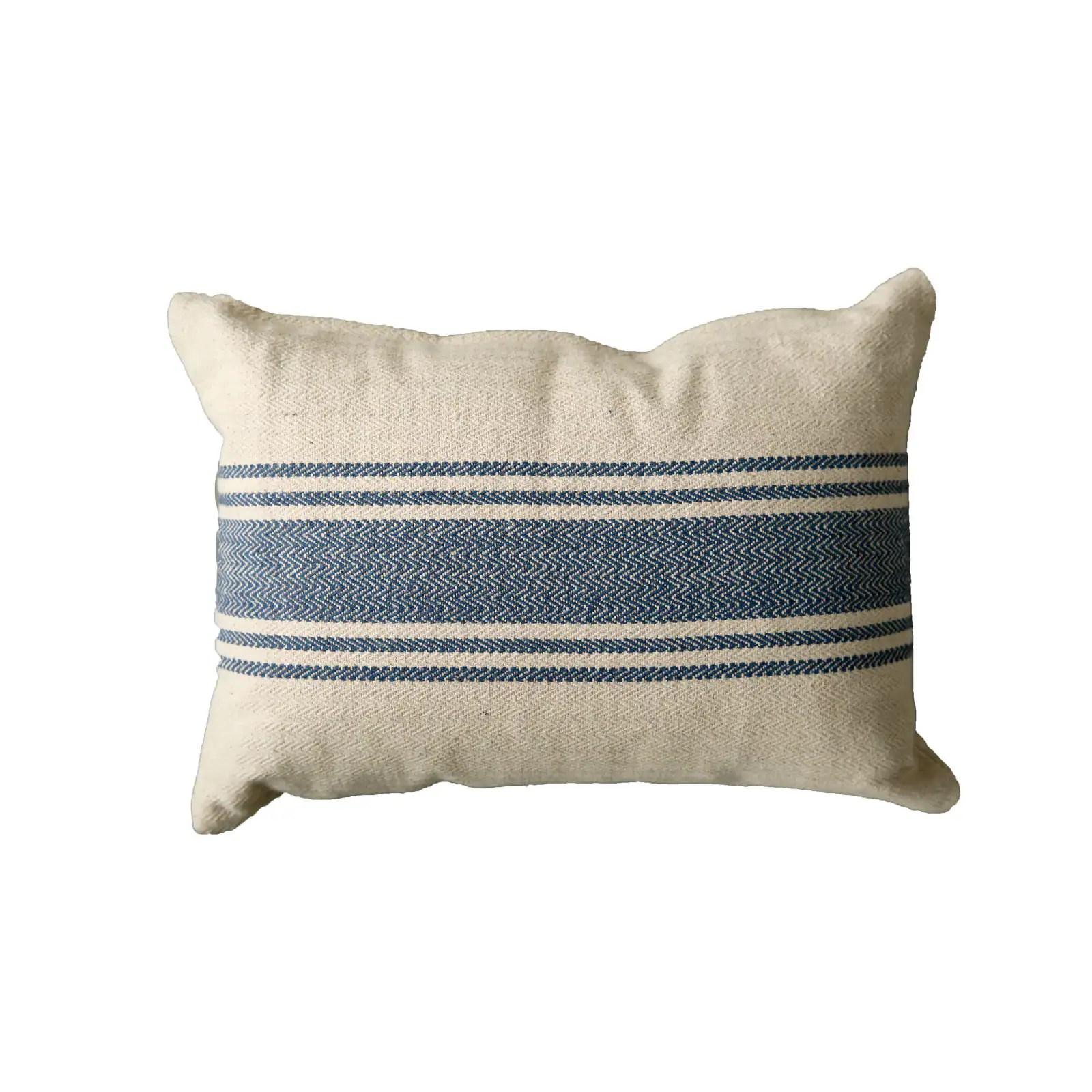 blue striped cream cotton canvas pillow