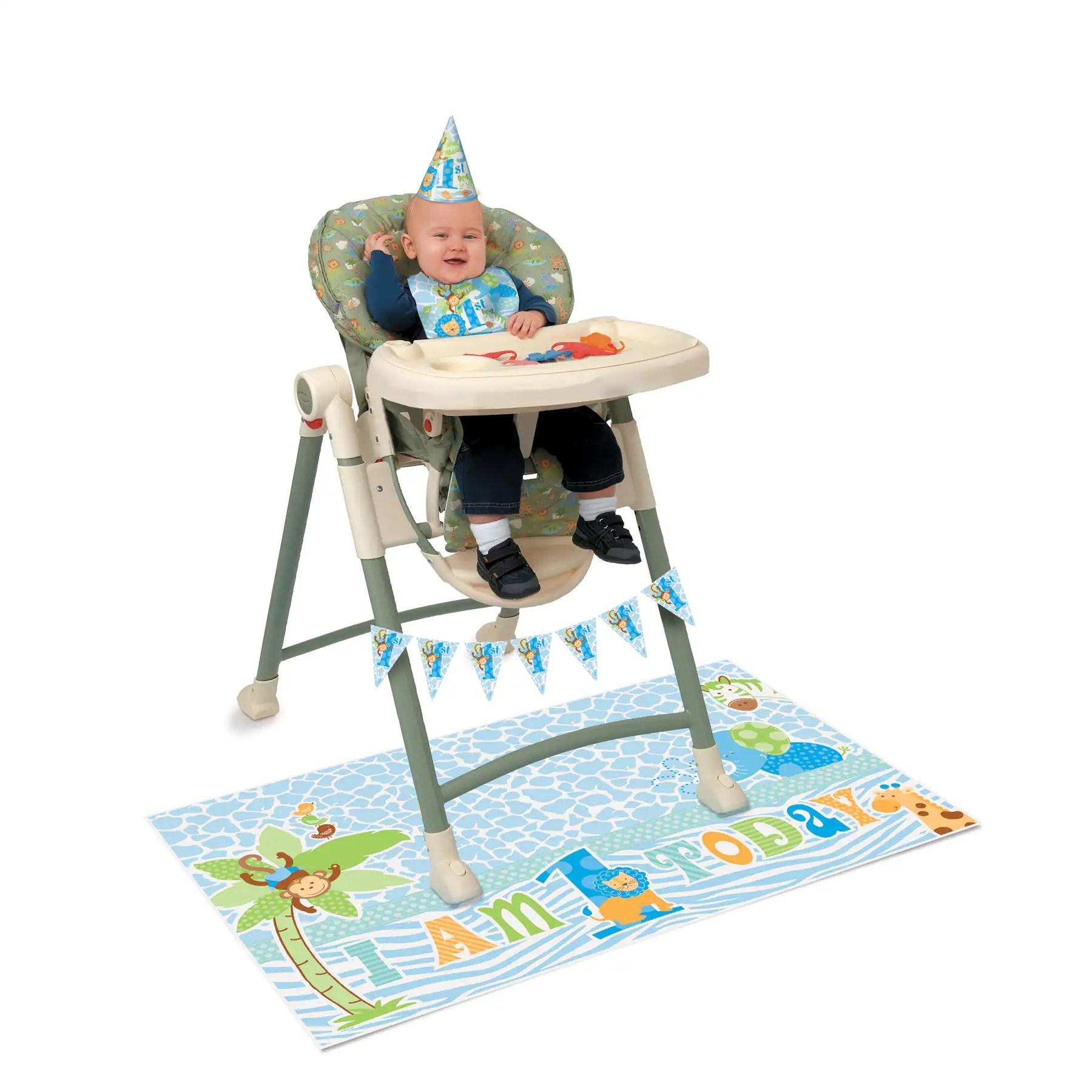 safari high chair tripod fishing blue 1st birthday decorating kit img