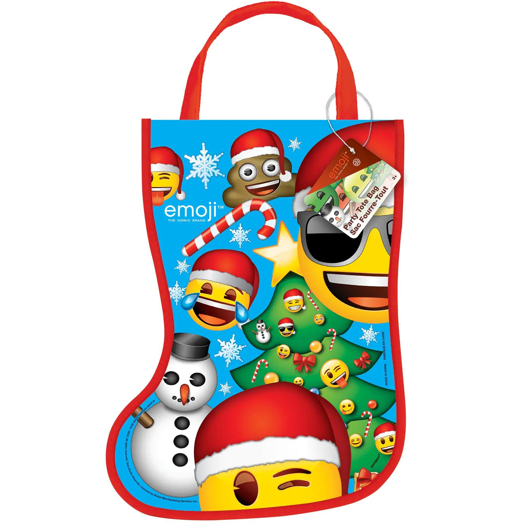 plastic emoji christmas stocking