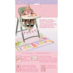 Safari High Chair White Comfy Pink 1st Birthday Decorating Kit Img