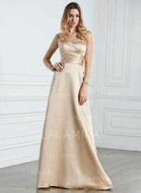 Empire Halter Floor-Length Satin Bridesmaid Dresses With ...