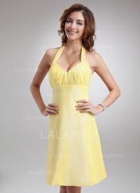 A-Line/Princess Halter Knee-Length Bridesmaid Dresses With ...