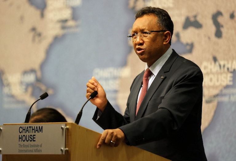 Hery Rajaonarimampianina, who is running for reelection in this week's presidential elections in Madagascar, spoke in London in 2015. Image courtesy of Chatham House via Flickr (CC BY 2.0).
