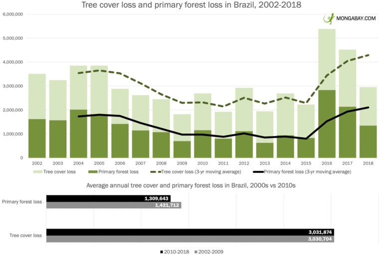 Tree cover loss and primary forest loss in Brazil from 2002 to 2018 according to data from Hansen et al 2019.