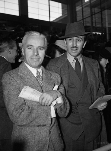 Charlie Chaplin and Walt Disney in the 1930s. (photo courtesy of the Walt Disney Family Museum)
