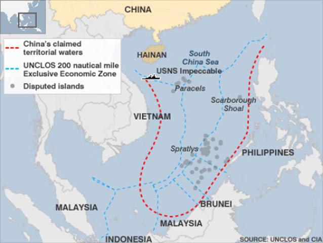 UNCLOS, Philippines, ASEAN, Trung Quốc, Biển Đông, COC, Indonesia, chủ quyền, tàu sân bay, vùng nhận dạng phòng không, Hoa Đông