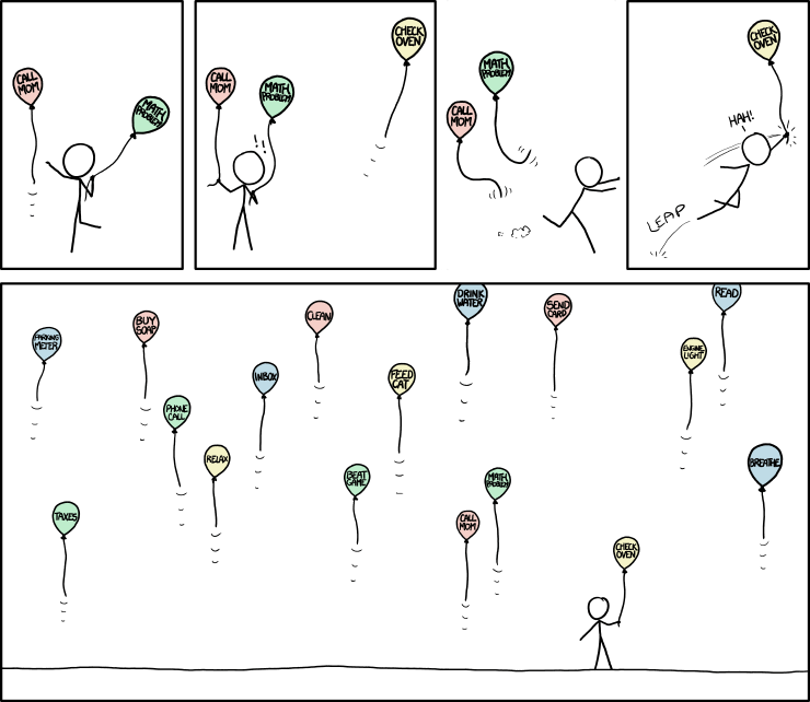 20  balloons float away while I'm busy permanently tying one to a tree to deal with it for good. Unfortunately, that one balloon was 'land a rocket on the moon in Kerbal Space Program.