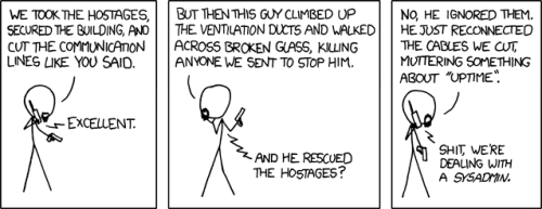 XKDC comic strip about uptime and sysadmins