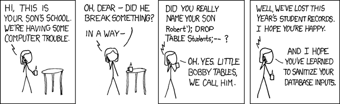 xkcd comic featuring SQL Injection