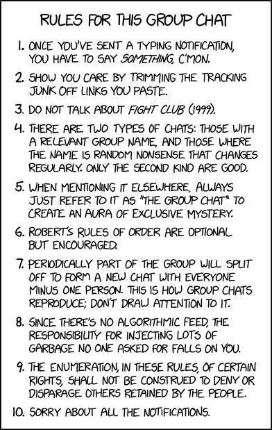 Group Chat Rules comic from XKCD