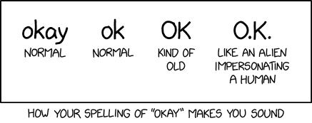 "After changing it back and forth several times and consulting with internet linguist Gretchen McCulloch, I settled on ""ok"" in my book How To, but I'm still on the fence. Maybe I should just switch to ""oK."""