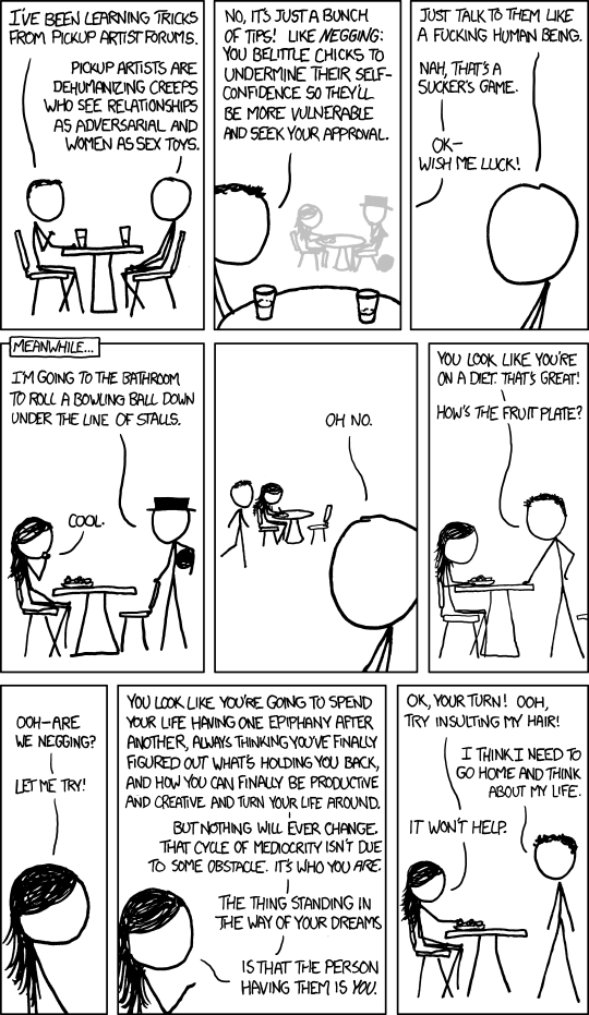 Negging - pickup artist by XKCD