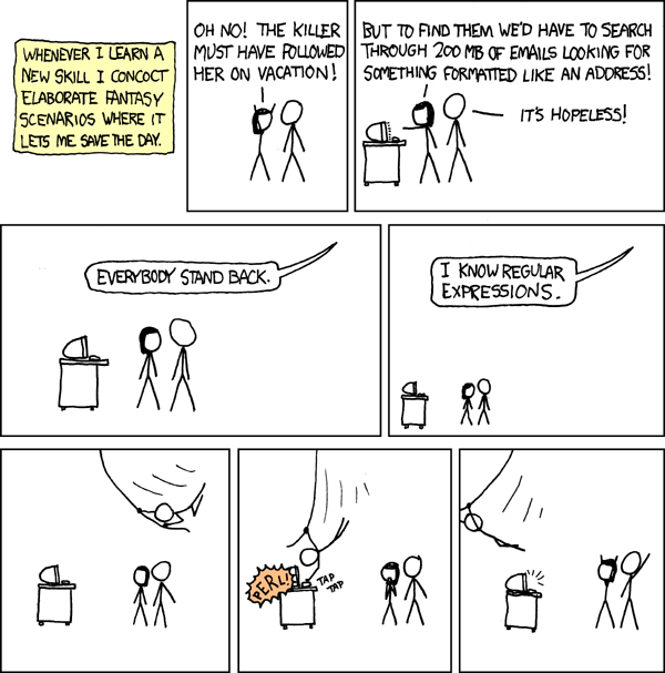 Regular Expressions cartoon on xkcd
