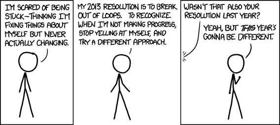 Getting involved with causes I care about is a more realistic new year's resolution than changing any of my bad habits. Here's a blast from the past from xkcd.com. Wise mouseover text: