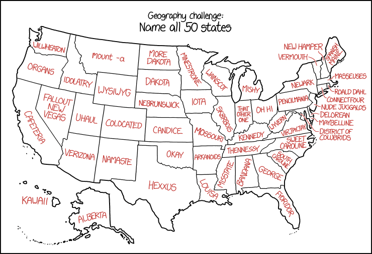 xkcd's U.S. State Names – The Map Room