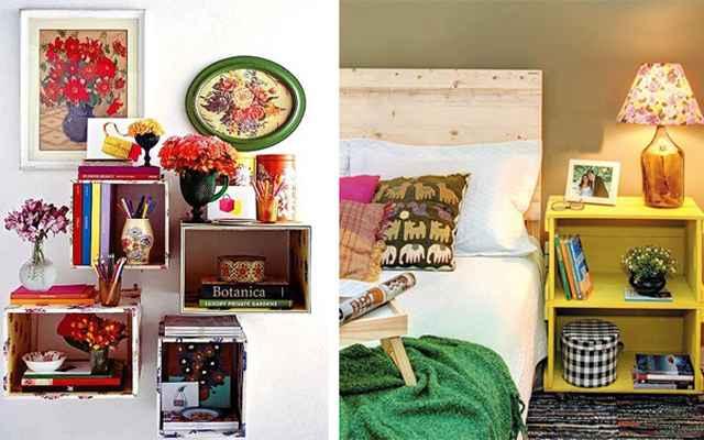 Para organizar ou decorar, os caixotes são ideais. Basta pintá-los de cores divertidas e arrumar os objetos de decoração nas