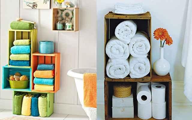 Os caixotes também têm espaço no banheiro - uma ideia é utilizá-los para organizar as toalhas (Reprodução/Internet)