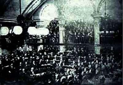 Conservadores e liberais formaram aliança inédita para aprovar o projeto de abolição na Câmara por 83 votos favoráveis contra nove (Projetomemoria/Reprodução)