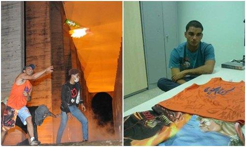 O suspeito foi identificado como responsável por jogar coquetel molotov (Montagem: Breno Fortes/CB/D.A Press e Polícia Civil/Divulgação)