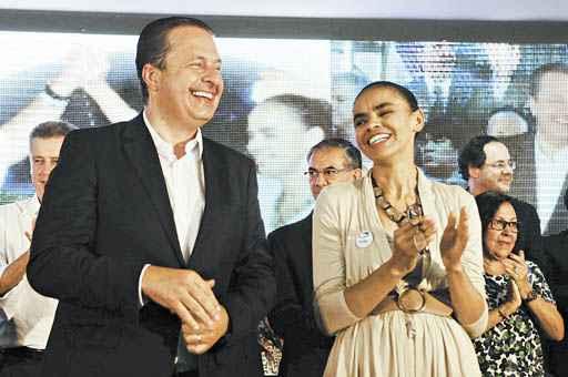 Eduardo Campos e Marina Silva durante o pré-lançamento da chapa: integrantes do PSB garantem que a sintonia entre eles é completa (Bruno Peres/CB/D.A Press - 14/4/14 )