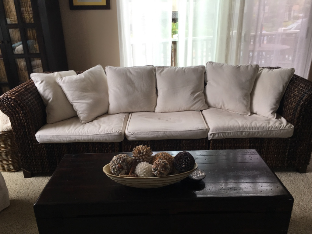 pottery barn seagrass chair swing dubizzle letgo roll arm sofa in encinitas ca