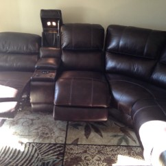 Home Theater Leather Sofa Red Grey Rug Letgo Black Recliner In Dallas Tx