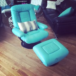 Turquoise Leather Chair And Ottoman Gray Rocking Cushions Letgo Recliner Reclin In Lombard Il