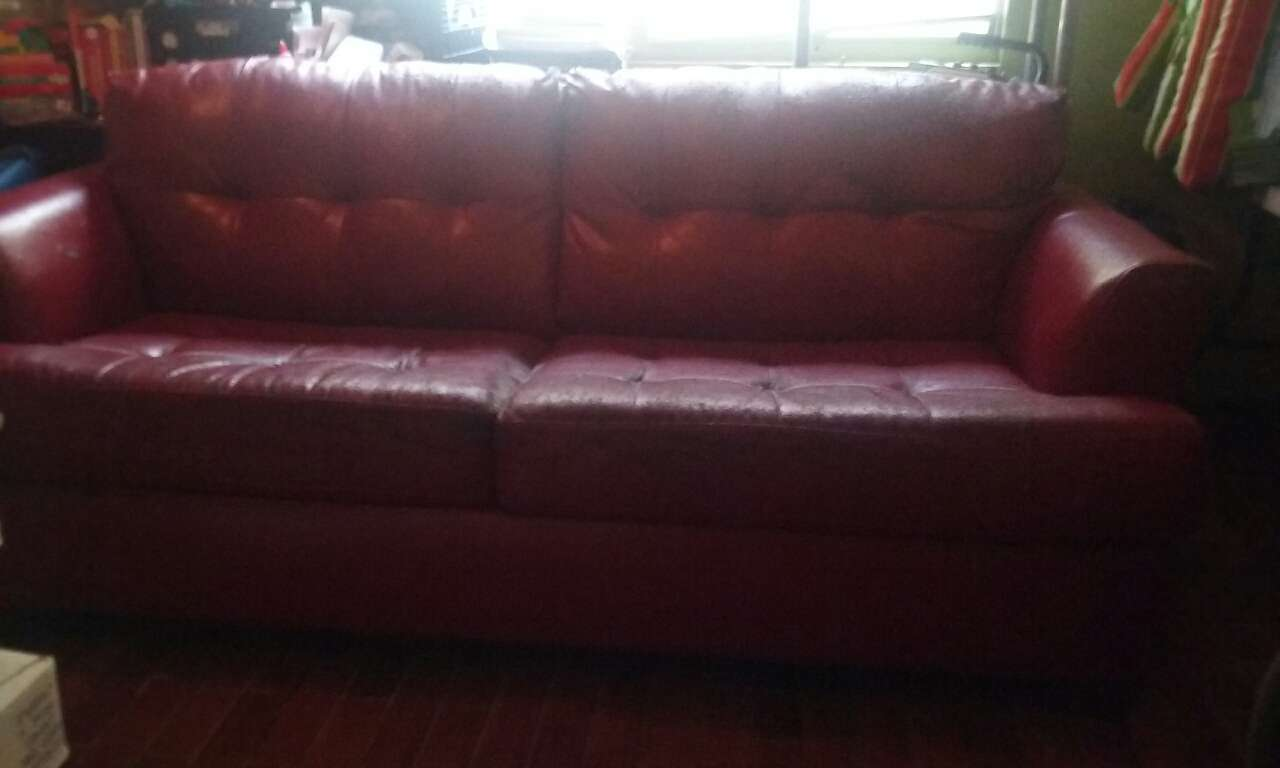 red leather two seater sofa cina letgo 2 couch in alafaya fl
