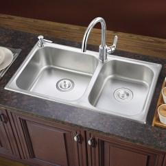 High End Kitchen Sinks Decorating 摩恩 Moen 厨房水槽双槽套装304不锈钢800mm水池洗菜盆配高端抽拉水龙头 厨房水槽双槽套装304不锈钢800mm水池洗菜