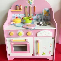 Wooden Kids Kitchen White Modern Cabinets Aw木制儿童过家家仿真厨房玩具木制2 3 6岁宝宝做饭灶台粉厨房冾准过家家
