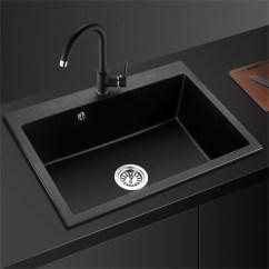 Black Sink Kitchen Countertop Cover 欧琳 Oulin 石英石水槽单槽套餐黑色厨房洗菜盆水槽大单槽洗菜池花岗岩 石英石水槽单槽套餐黑色厨房洗菜盆