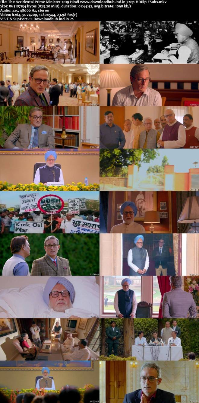 The Accidental Prime Minister 2019 Hindi 720p HDRip ESubs
