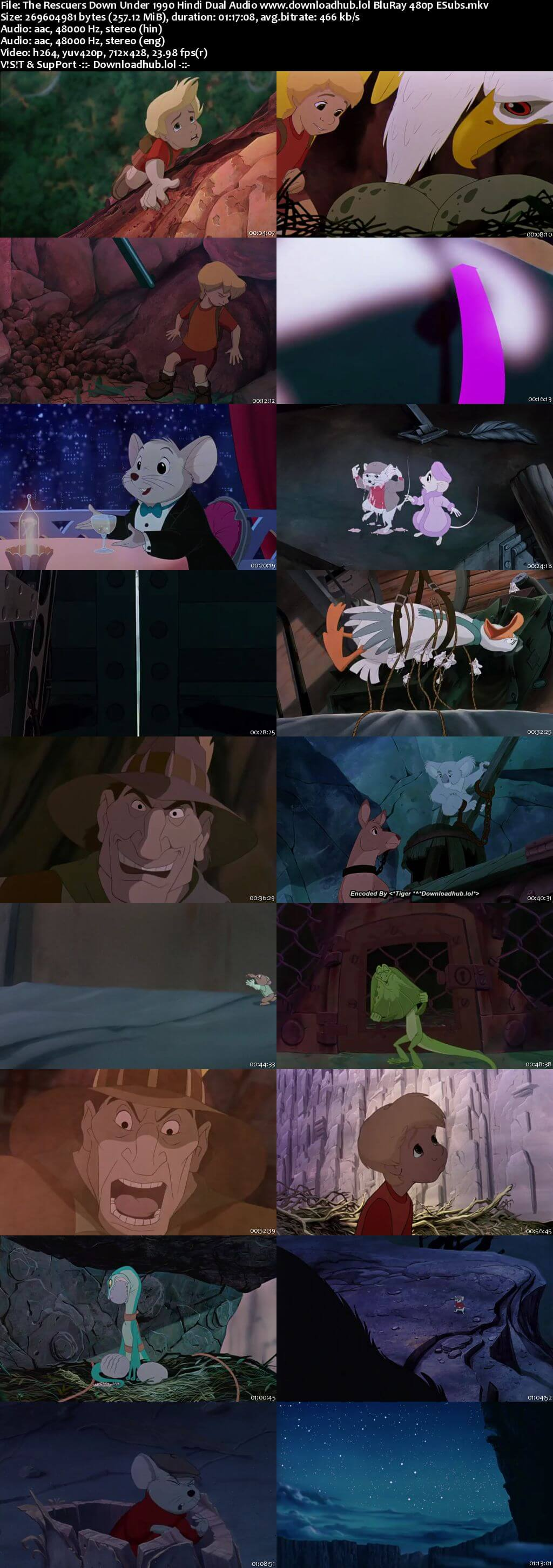 The Rescuers Down Under 1990 Hindi Dual Audio 250MB BluRay 480p ESubs
